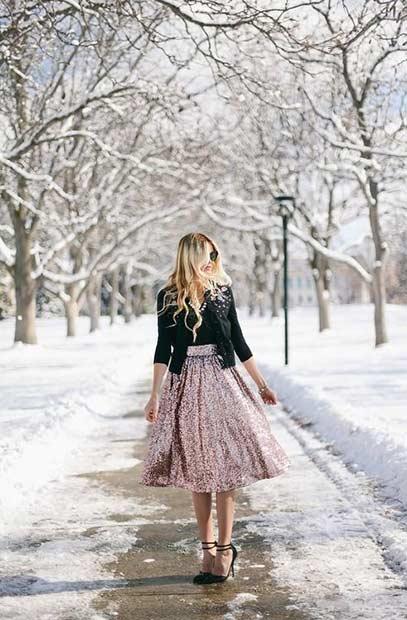 Sequin Skirt Christmas Outfit Idea