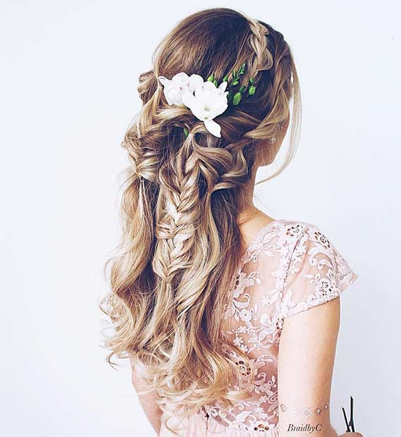 Bohemian Half Up Wedding Hairstyle with Braids and Flowers