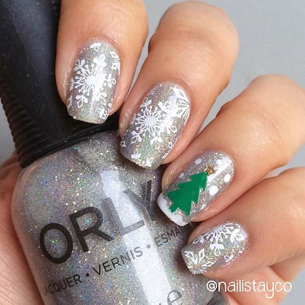 Winter Snowflake Nail Art Design