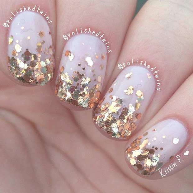 Gold Glitter Ombre Nail Design