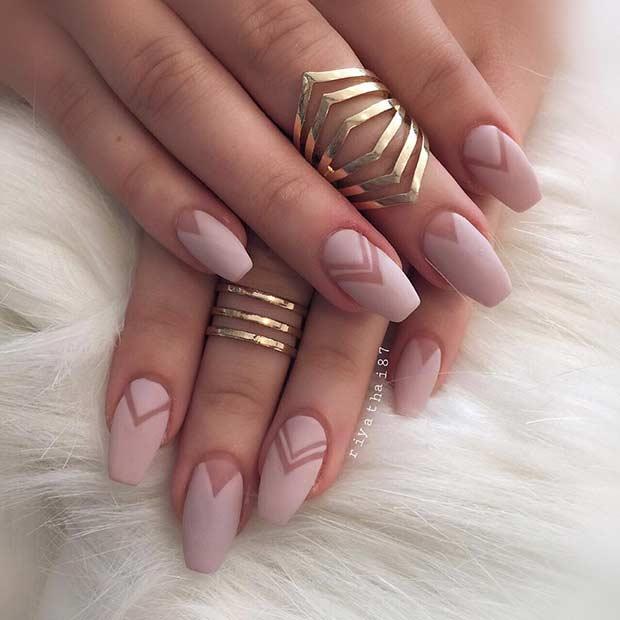 Matte Neutral Nail Design For Long Nails