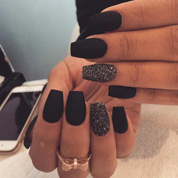 25 cool matte nail designs to copy in 2017 crazyforus edgy matte black nail design for short nails prinsesfo Image collections