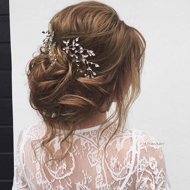 Elegant Updo Wedding Hairstyle with a Hairpiece