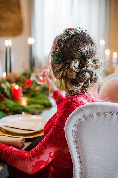 Statement Headpiece Winter Wedding Hairstyle