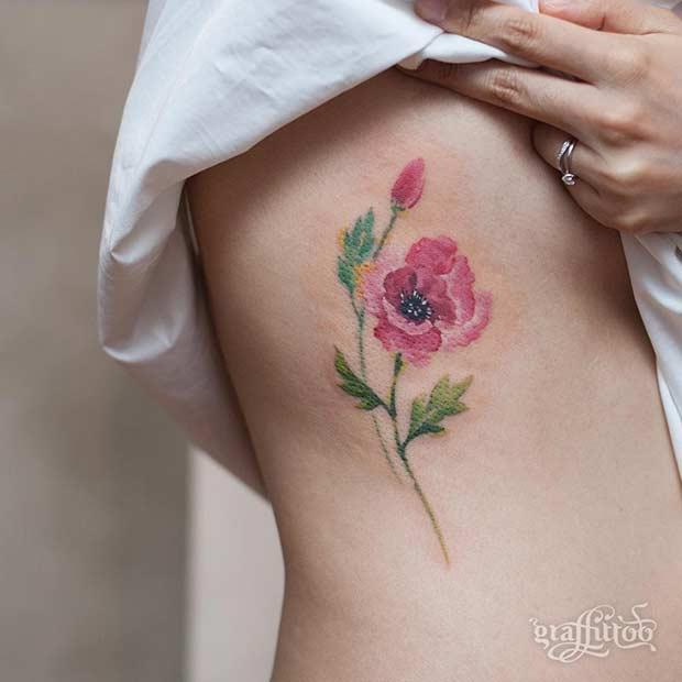 Pink Poppy Flower Watercolor Tattoo