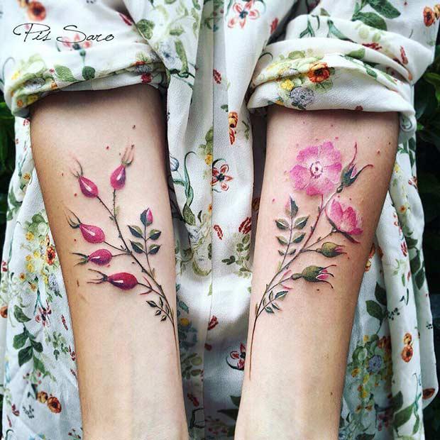 Beautiful Watercolor Flowers Tattoo Design