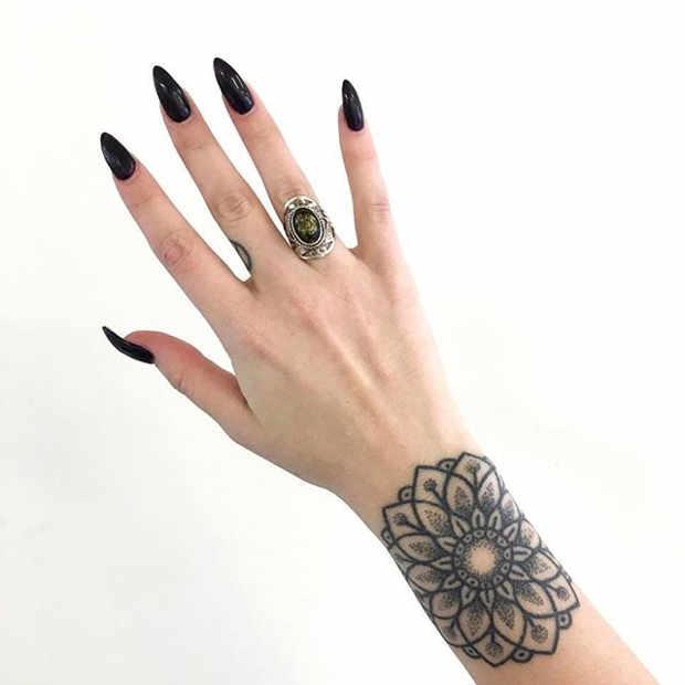Women's Mandala Wrist Tattoo