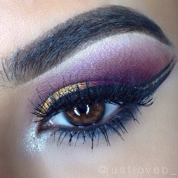 Purple and Gold Smokey Eye Idea for Brown Eyes