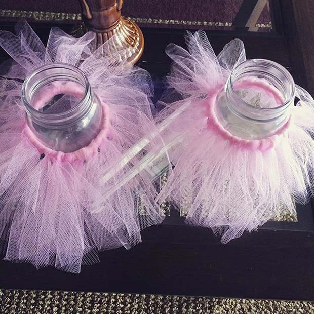 Pink Tutu Jar Idea for Girls Baby Shower