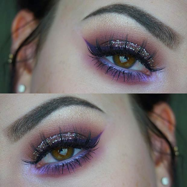 Glittery Purple Smokey Eye for Brown Eyes