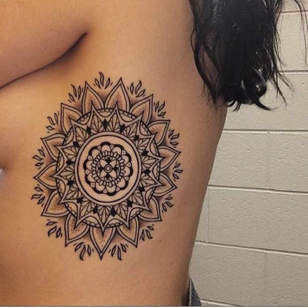 Women's Floral Rib Mandala Tattoo