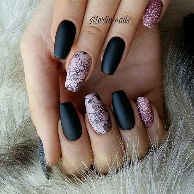 Elegant Matte Floral Nail Design for Spring