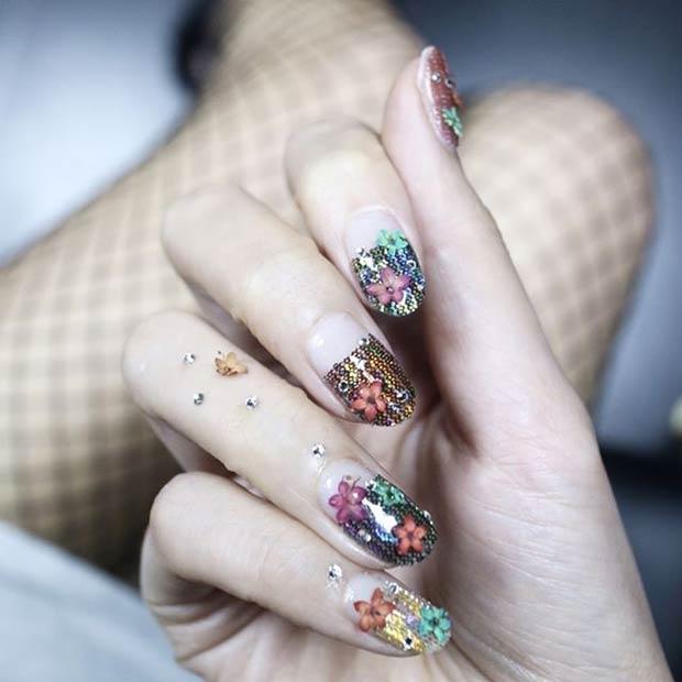 Fishnet Floral Nail Art Design