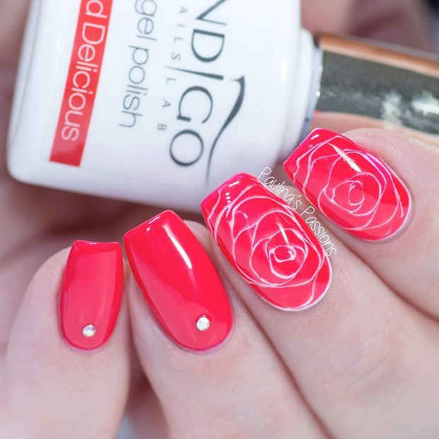 Red and White Rose Nail Design with Crystals for Spring 2017