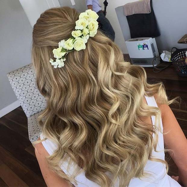 Waved Bridal Hair with Floral Hairpiece for Spring Wedding