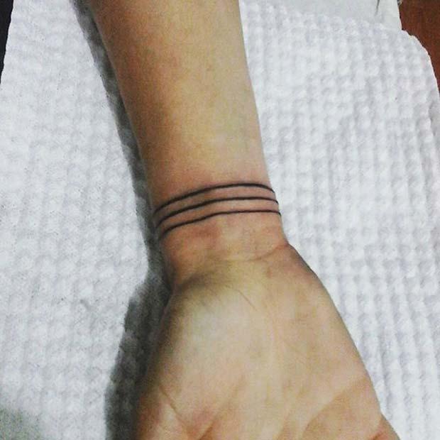 Three Line Wrist Tattoo Idea for Women