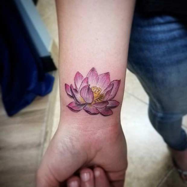Pink Lotus Idea for Women's Wrist Tattoo