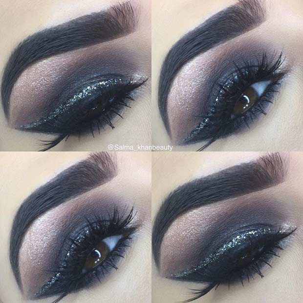 Black Smokey Eye Makeup Idea with a Pop of Glitter