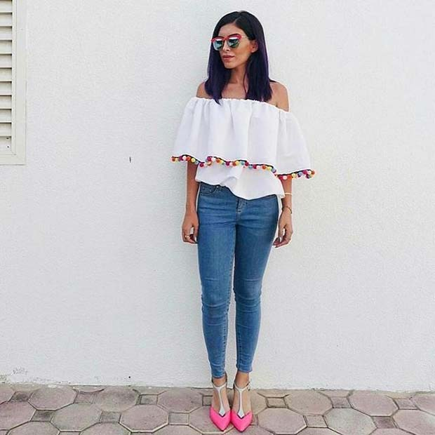 Pom Pom Top and Jeans Outfit Idea
