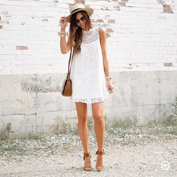 Trendy Short White Dress and Heels