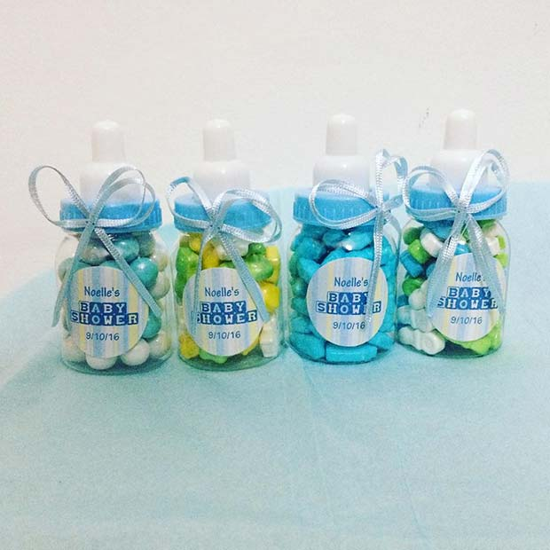 Baby Bottle Candy for Boy's Baby Shower