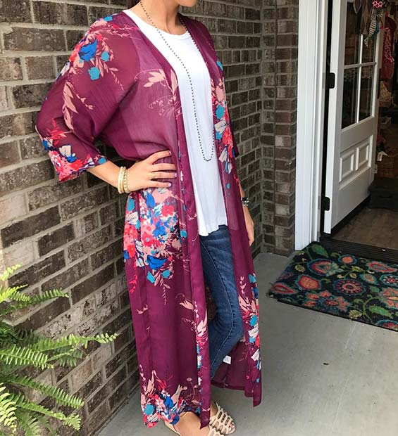 Floral Kimono and Jeans Outfit Idea for Summer