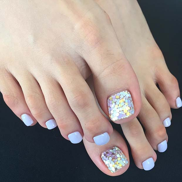 Blue Pedicure with Accent Nail