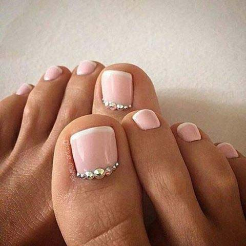 Pink French Pedicure with Silver Gems