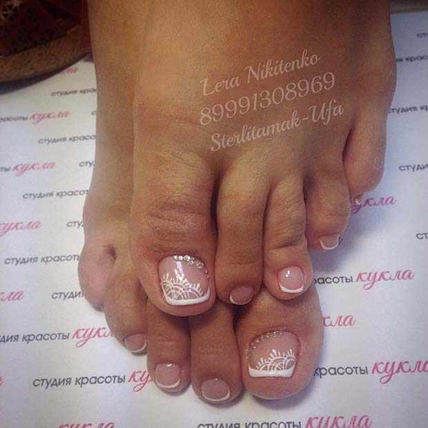 French Pedicure with Elegant Accent Nail