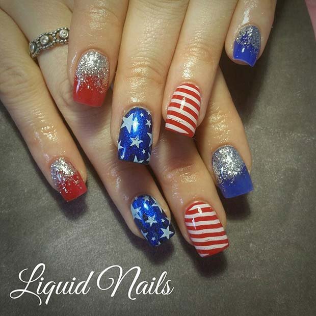 Ombre Glitter, Stars and Stripes for 4th July Nail Design Idea