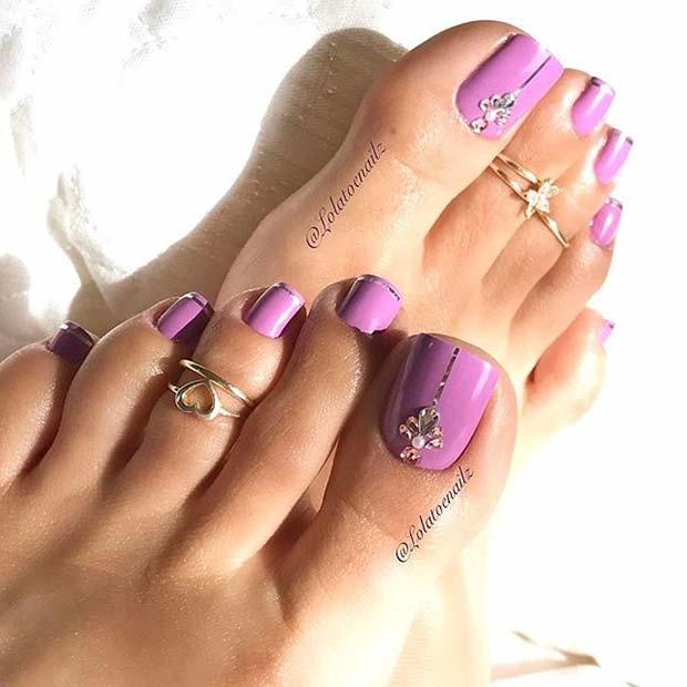 Lilac and Crystal Nail Art