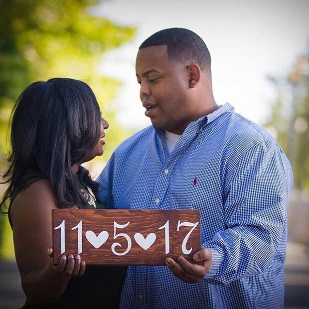 Date of Engagement Photo for Romantic Engagement Photo Idea