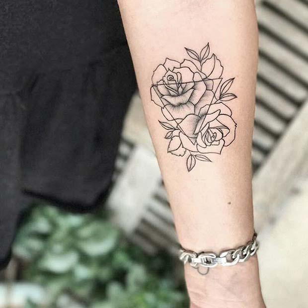 Triangle and Rose Tattoo Idea