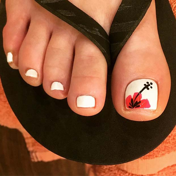 White Pedicure with Tropical Flower Accent Nail