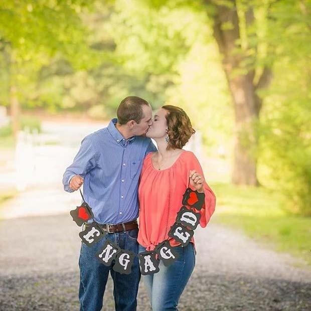 Engagement Banner for Romantic Engagement Photo Idea