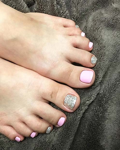Pink and Glitter Pedicure