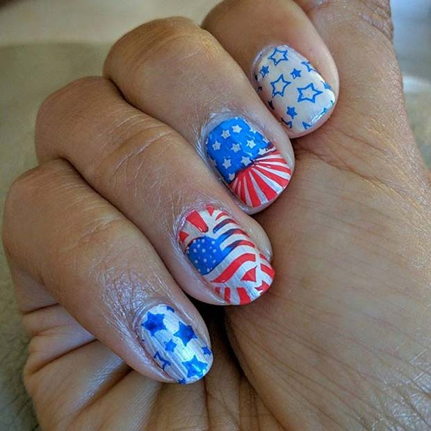 Funky Flag Art for 4th of July Nail Design Idea