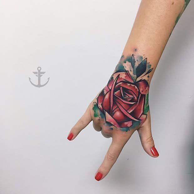 Rose Hand Tattoo for Badass Tattoo for Women