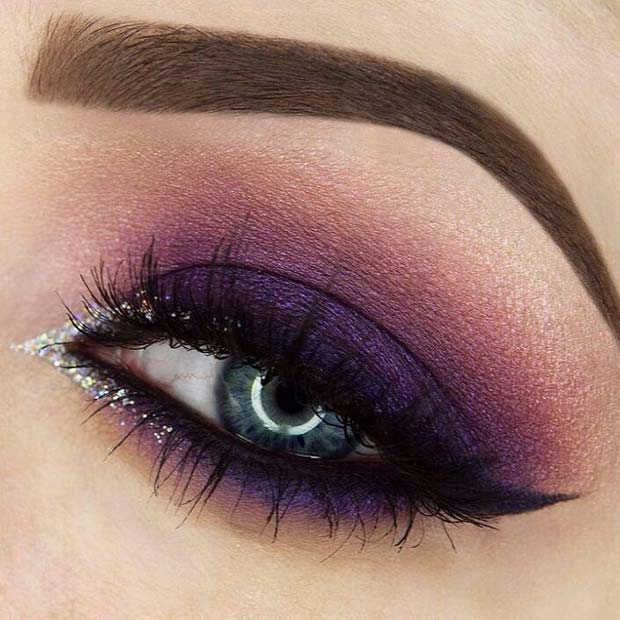 Purple Smokey Eye with a Pop of Glitter