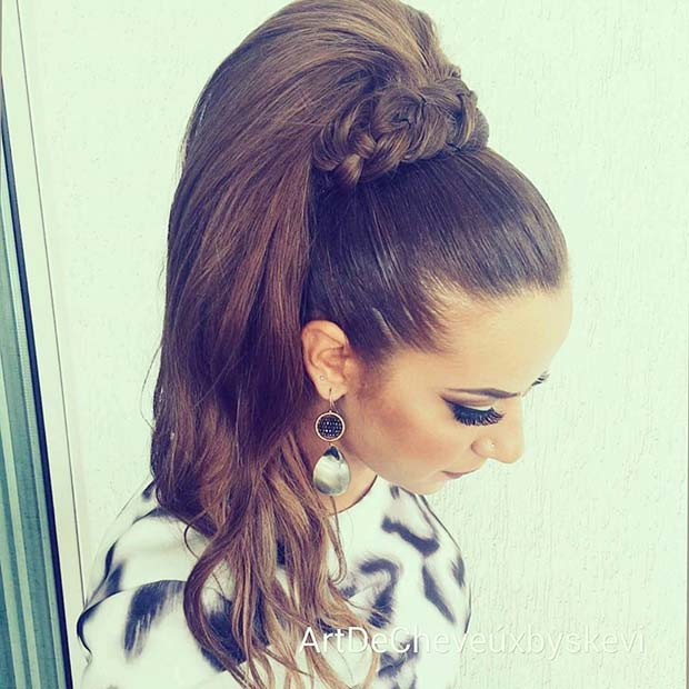 Glamorous High Ponytail with Braided Wrap