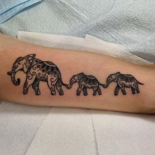 Patterned Elephants in a Line