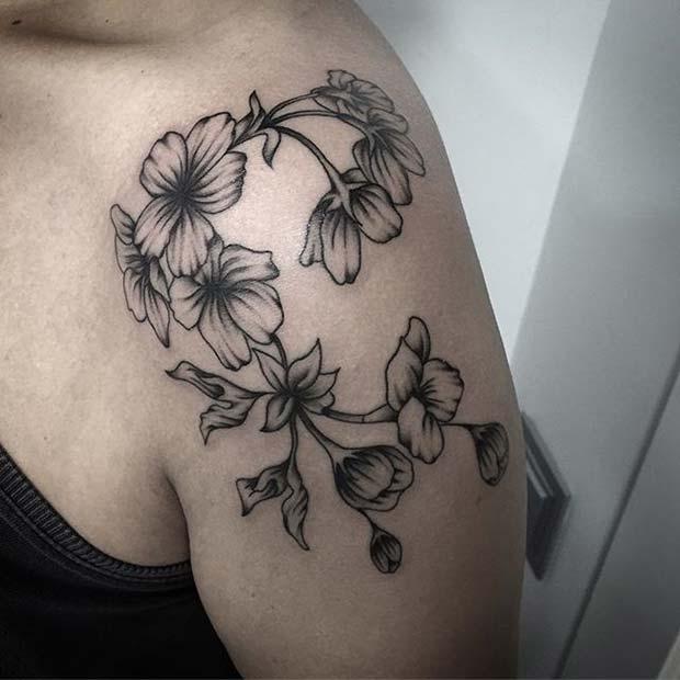 Black Ink Floral Shoulder Tattoo for Flower Tattoo Ideas for Women