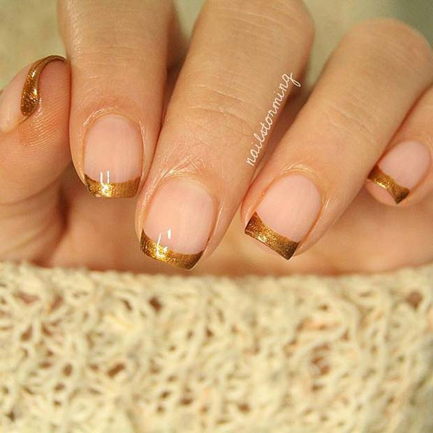 Gold French Manicure for Elegant Nail Designs for Short Nails