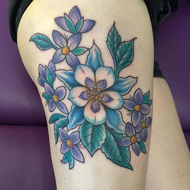 Vibrant Floral Thigh Tattoo for Flower Tattoo Ideas for Women