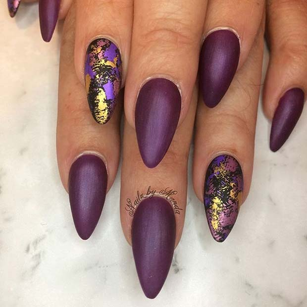 Trendy Matte and Foil Nail Art
