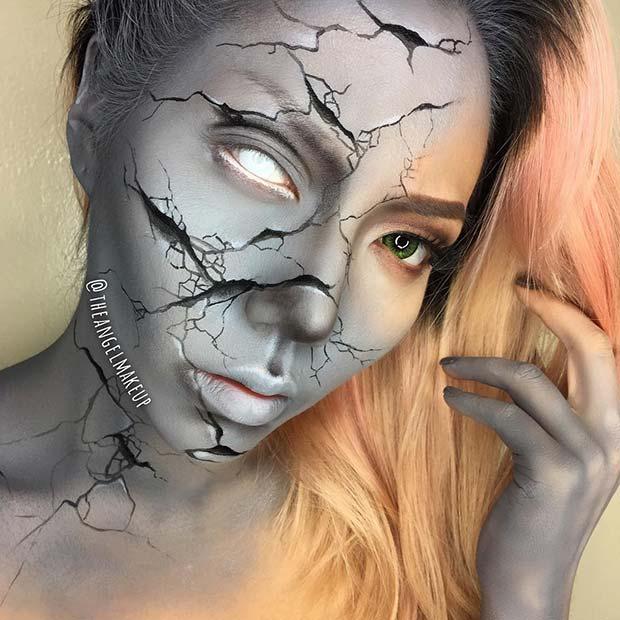 Cracked Statue Halloween Makeup Look