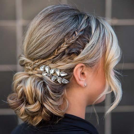 Braided Updo with a Sparkling Accessory