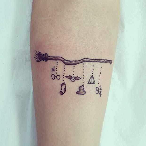 Cute Harry Potter Theme Tattoo