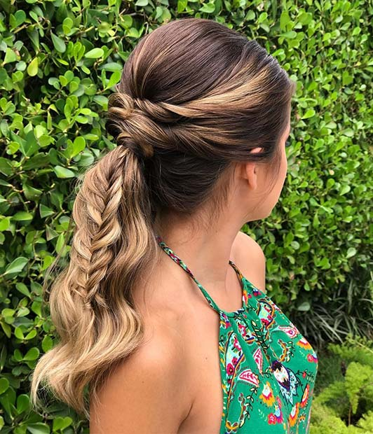 Cute Ponytail with Fishtail Braid