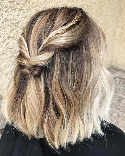 Twisted Half Updo for Medium Hair